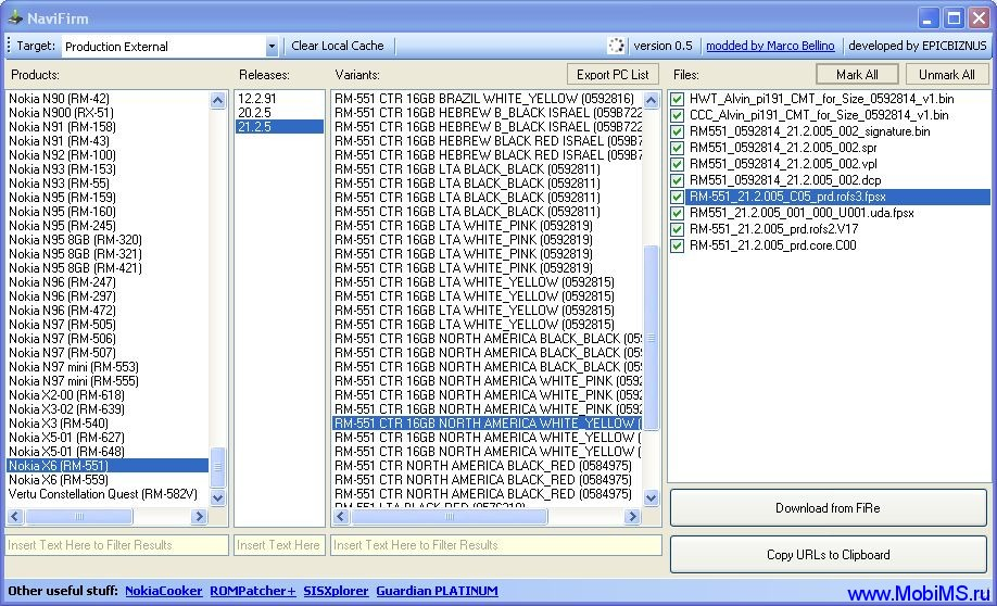 NaviFirmEx - v.1.5.2 - Nokia Firmware Downloader