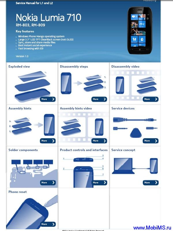 Схема, сервисная инструкция для Nokia Lumia 710 RM-803 RM-809 Service Manual  L1&2 v1.0