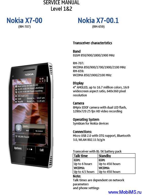 Сервис мануал для Nokia x7-00 RM-659 RM-707 Service Manual L1L2 v1.0
