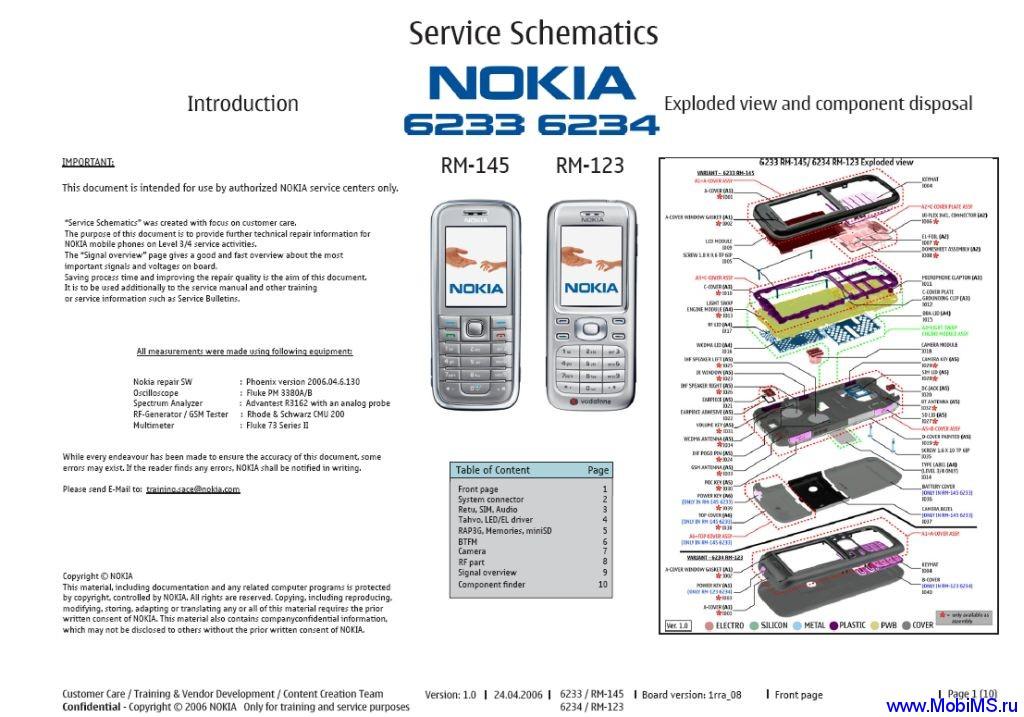 Схема, Service Shematics для Nokia 6233 RM-145 и Nokia 6234 RM-123