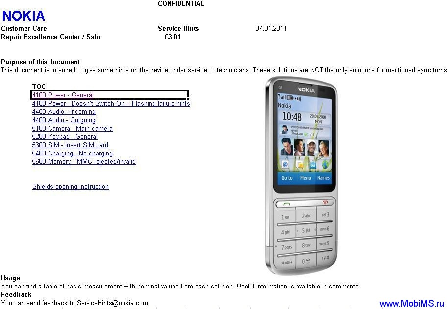Nokia C3-01 Service Hints