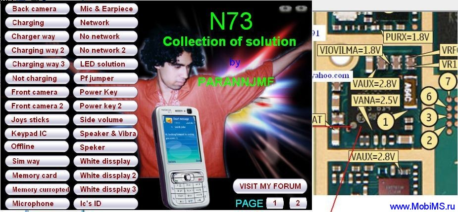 Схемы, солюшены для Nokia N73 Collection of solution