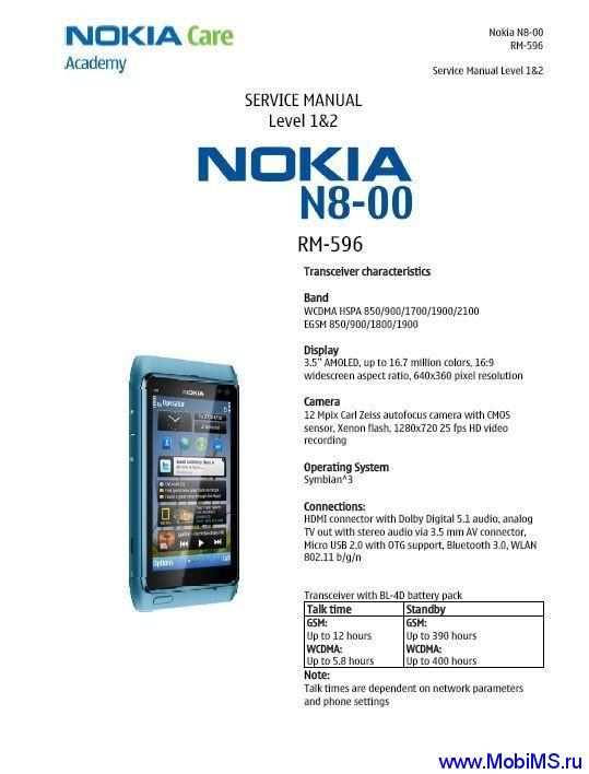 Сервисная инструкция для Nokia n8-00 rm-596 service manual l1l2 v1