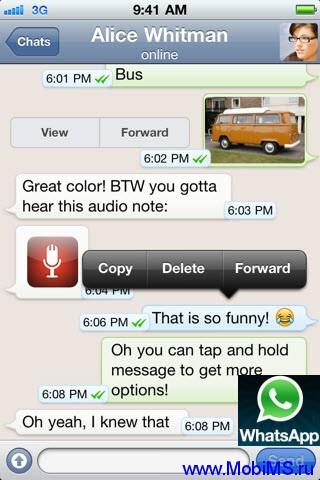 WhatsApp v2.7.4537 для Android и WhatsApp v2.6.10 для iPhone - Прямой обмен сообщениями со смартфона на смартфон без использования СМС.