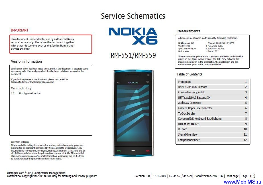 Схема Service Schematics для Nokia X6 RM-551, RM-559