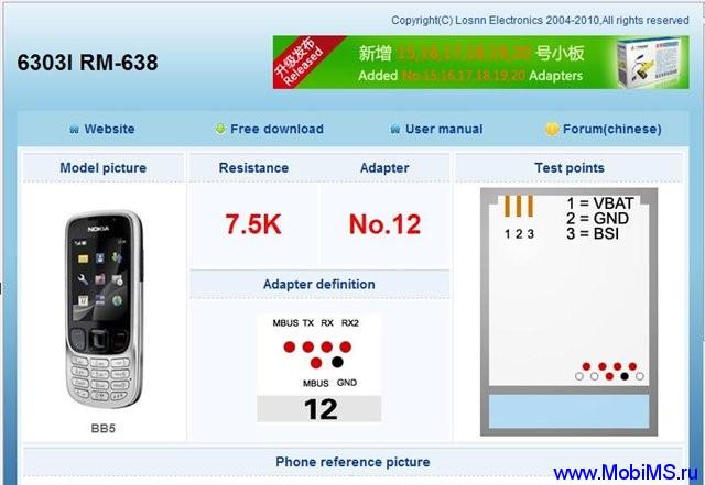 Losnn Clamp V2.2.0 Распиновка  F-BUS кабелей для всех моделей Nokia