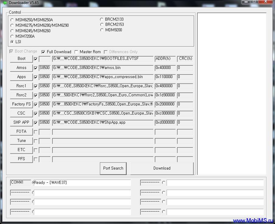 Инструкция по прошивке телефонов Samsung S8600, S8500, S8530, S5380D, S5250, S5330, S5750, S7280 с помощью MultiLoader