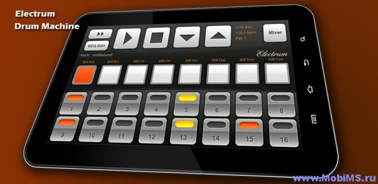Приложение Electrum Drum Machine Sampler для Android