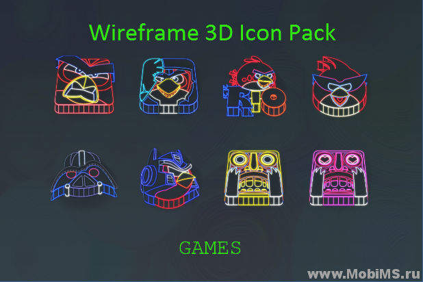 Приложение Wireframe 3D Icon Pack для Android